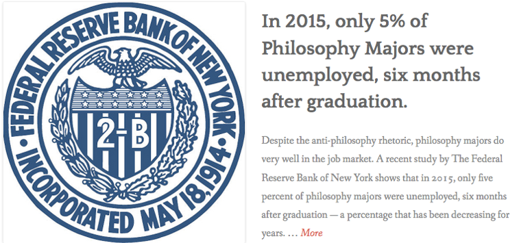 Federal Reserve study about Philosophy Majors